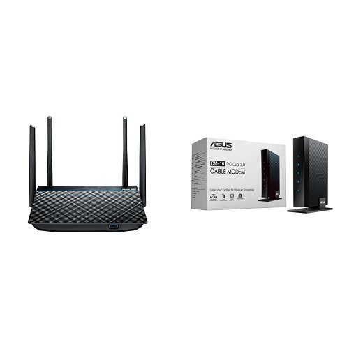 ASUS Dual-Band 2x2 AC1300 Wifi 4-port Gigabit Router with USB 3.0 (RT-ACRH13) and ASUS DOCSIS 3.0 High Speed 16 x 4 Cable Modem [並行輸入品]