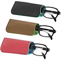 JAVOedge (5 PACK/3 PACK) 2 Tone Style Soft Pouch Eyeglass Storage Case w/Microfiber Eyeglasses Cloth (Mix Colors Set)