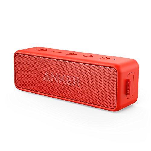 Anker SoundCore 2 (12W Bluetooth4.2 スピーカー 24時間連続再生)【強化された低音 / IPX5防水規格 / デュアルドライバー / マイク内蔵】 (レッド)