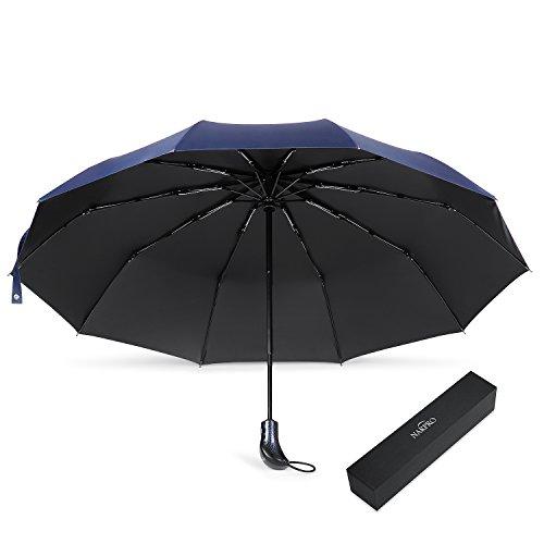 NARPRO 折りたたみ傘 ワンタッチ自動開閉 梅雨対策 晴雨兼用傘 UV遮光率99% 軽量 118cm大型 Teflon撥水加工 280T超撥水性 耐強風 高強度 二重グラスファイバー 10本傘骨 収納ポーチ付(ブルー)