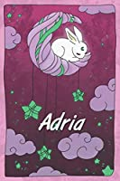 Adria: personalized notebook   sleeping bunny on the moon with stars   softcover   120 pages   blank   useful as notebook, dream diary, scrapbook, journal or gift idea