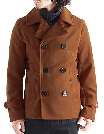メルトンウールPコート ピーコート Pジャケット ピージャケット コート メンズ Mサイズ ブリックレッド