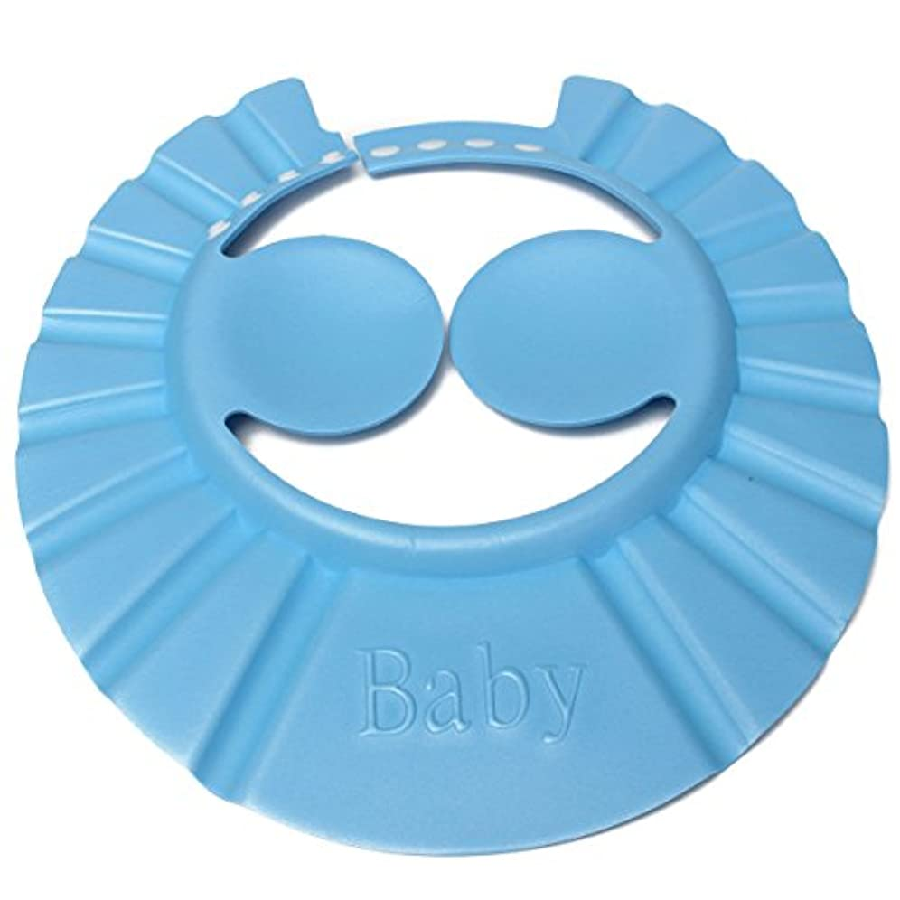 バスシャワーキャップ,SODIAL(R)赤ちゃん 子供 幼児のシャンプー お風呂 シャワー キャップハット 髪を洗うシールド 青