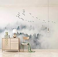 Mzznz カスタム任意のサイズの壁画壁紙現代シンプルな鳥松林雲写真壁画リビングルームの寝室の家の装飾フレスコ-200X140Cm