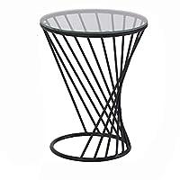 HANSHAN サイドテーブル 小型ラウンドテーブル、強化ガラス錬鉄製の小さなティーテーブルベッドルームベッドサイドテーブルのリビングルームサイドテーブルサイドキャビネット3色2サイズ 多機能 (色 : ブラック, サイズ さいず : 13 × 11 × 19inch)