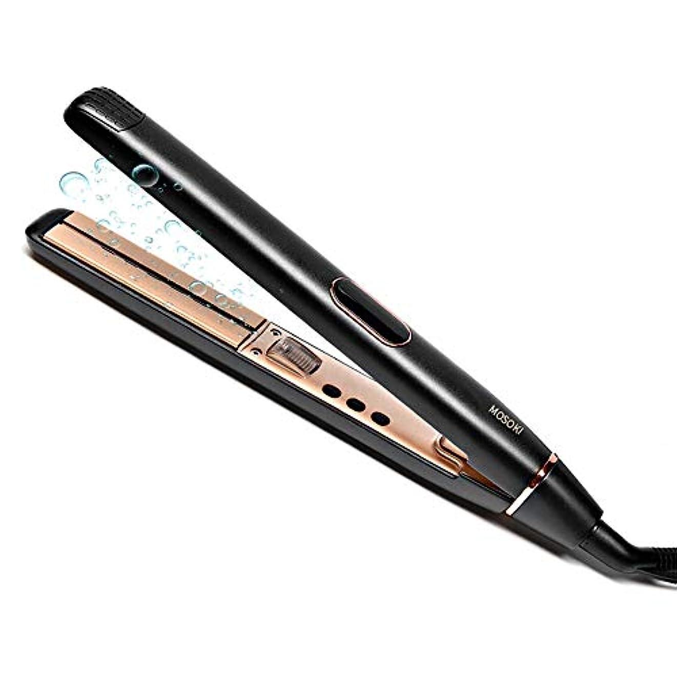 鷹マウスおそらくヘアアイロン ストレート カール 両用 ダブルマイナスイオン 100-230℃ 温度調節 LCDディスプレイ 自動OFF 海外対応 プロ仕様 (ブラック)