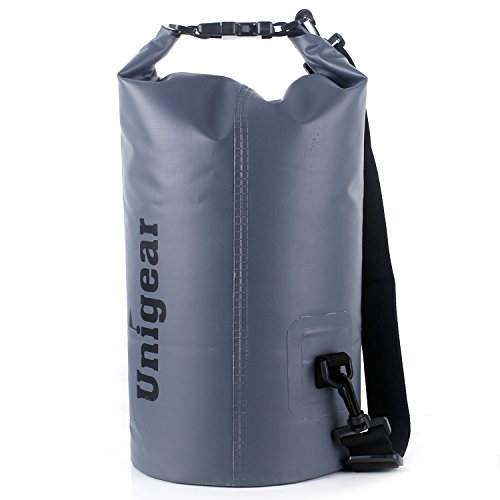 Unigear(ユニジア) ドライバッグ フリー防水ポーチ付 ドラム型 (灰色, 5L)
