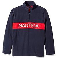 NAUTICA Men's Polar Fleece 1/4 Zip Block Logo Sweatshirt