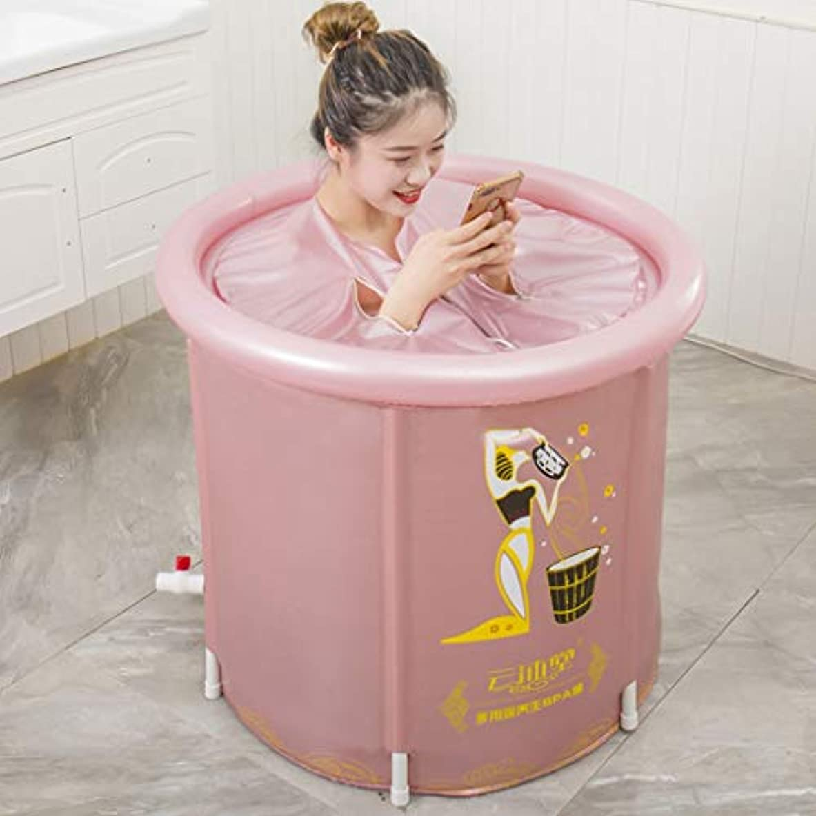 レンダー遅れブラストピンクのPVC防水生地プラスチック浴槽には空気枕が付いて、70 Cmの排水ホース、折り畳み可能な浴槽の底部の健康磁石、SPA物理療法、児童、成人に適している