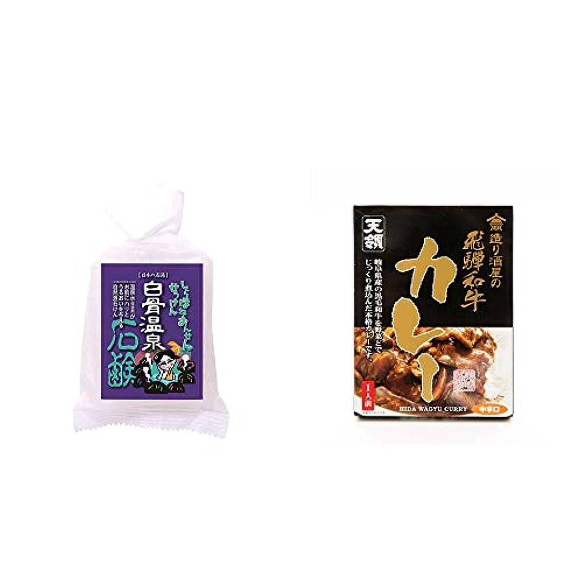 乱す宿泊[2点セット] 信州 白骨温泉石鹸(80g)?造り酒屋の飛騨和牛カレー【中辛】 (1食分)