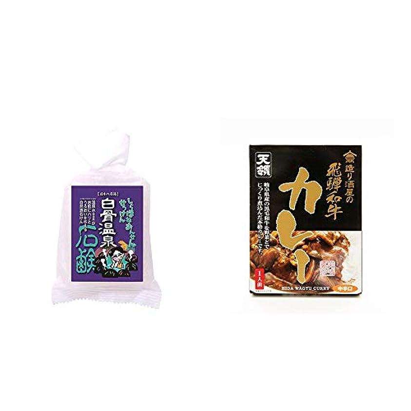 変形水っぽい型[2点セット] 信州 白骨温泉石鹸(80g)?造り酒屋の飛騨和牛カレー【中辛】 (1食分)