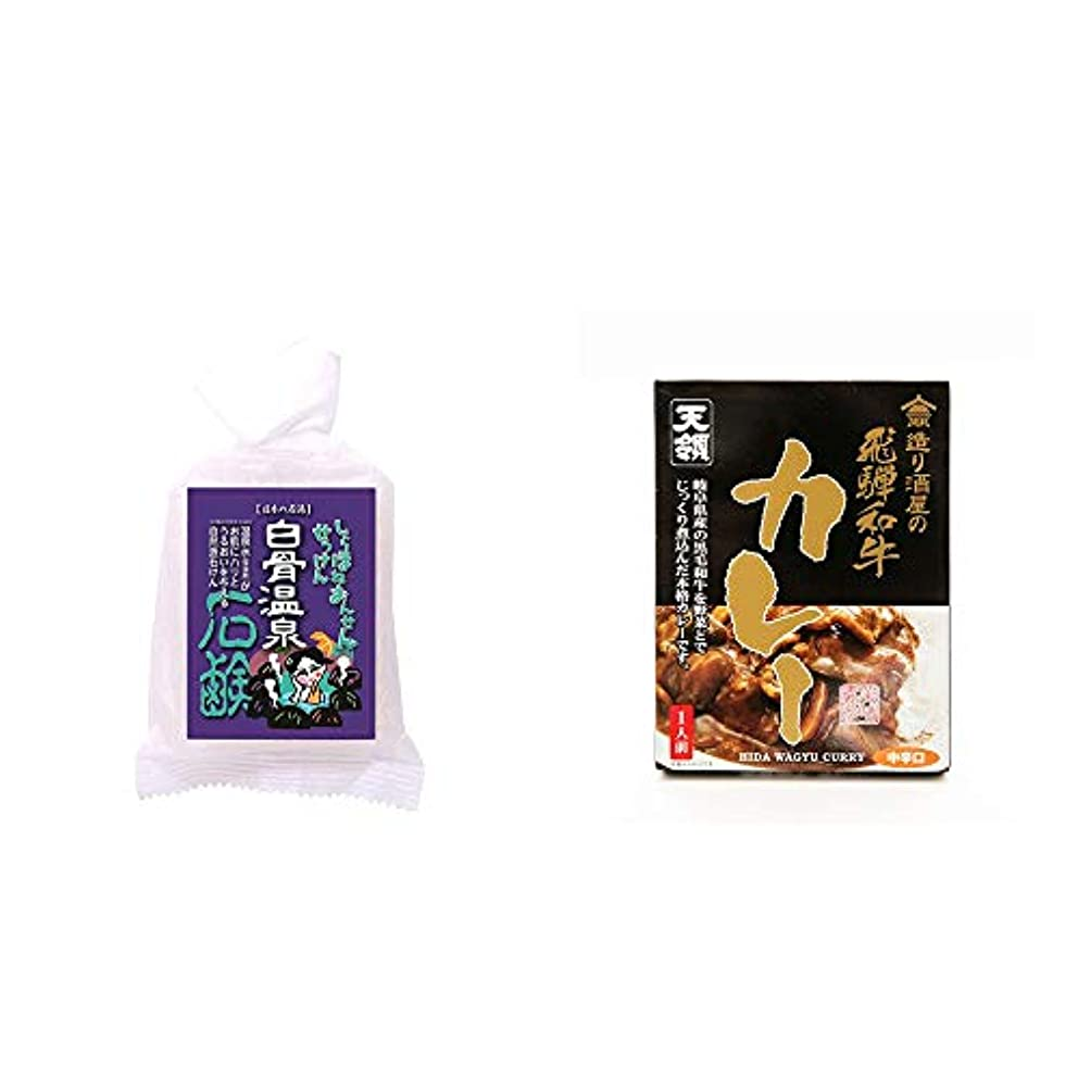 秋部門クレーター[2点セット] 信州 白骨温泉石鹸(80g)?造り酒屋の飛騨和牛カレー【中辛】 (1食分)