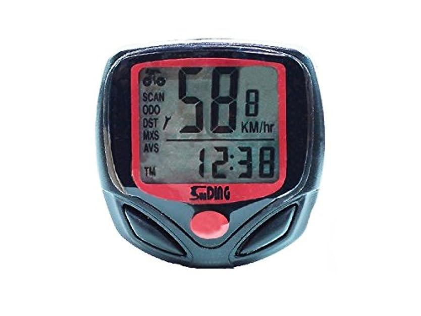 キリスト教硬さ凍結FenBuGu-JP 典型的な 屋外多機能防水液晶ディスプレイ自転車の速度計と自転車の光度計(赤+黒)