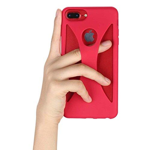 iPhone 8 Plus ケース iPhone 7 Plusケース, KIKI指差し片手ケース 片手使用ケースの究極型 360度全面保護 耐衝撃カバー 超スリムタイプ 落下防止 安心楽々片手使用 超軽量高品質シリコンケース [並行輸入品](赤)
