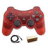 Pueleo PS3用 ワイヤレス デュアルショック3 ワイヤレスコントローラー互換 日本語説明書 USB ケーブル付属 (透明赤)