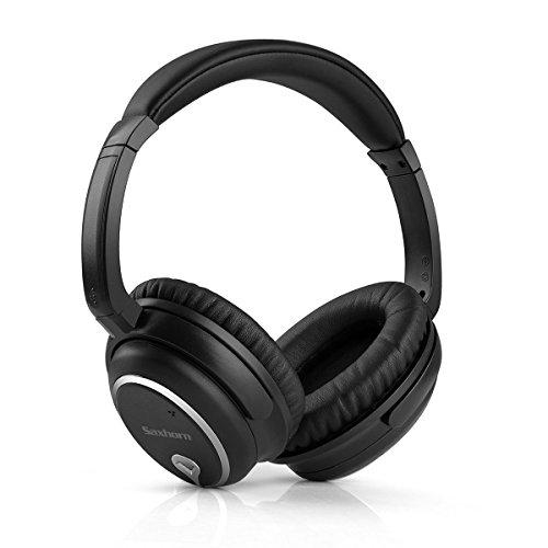 アクティブノイズキャンセリングヘッドホン Saxhorn ノイズキャンセリングヘッドフォン 密閉型 オーバーイヤー ANC対応 リモコン・マイク付き 通話可能 騒音隔離有線 線抜け可 高音質 ブラック ゲーム/音楽用ヘッドセットiPhone、iPad、iPod、Android、Samsung 、MP3/MP4、タブレット、ノートパソコン、スマートホン などに対応