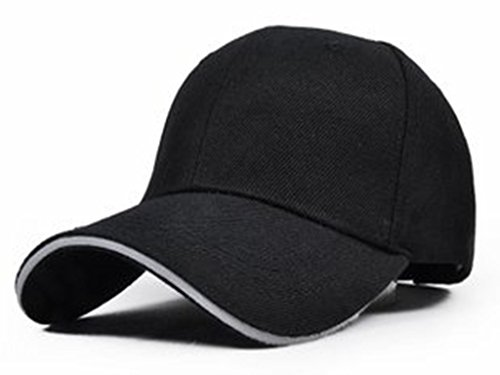 [ノーブランド品] ツバライン入り シンプル 無地 コットンキャップ (黒+白ツバ)