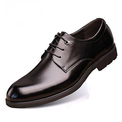 テンシオ TIANSIO メンズビジネスシューズ 本革 ドレスシューズ レースアップ 紳士靴 革靴 外羽根 つま先細い 防水防滑 通勤 結婚式 ブラック (25)