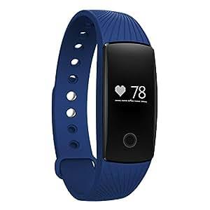 TINCINT スマートブレスレット 心拍計 活動量計 消費カロリー 歩数 走行距離 睡眠検測 遠隔カメラ 着信通知 携帯紛失防止 生活防水 スポーツ 健康管理 Bluetooth 4.0 スマートウォッチ Android4.4/Iphone、iOS7.1以上のスマホ端末に  (ブルー)