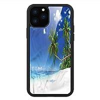 iPhone 11 Pro Max 用 強化ガラスケース クリア 薄型 耐衝撃 黒 カバーケース 海 ラグーンヤシの葉の雲 iPhone 11 Pro 2019用 iPhone11 Pro Maxケース用
