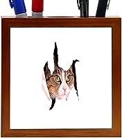 Rikki Knight Cat Looking Trough Paper Breakthrough Design 5-Inch Tile Wooden Tile Pen Holder (RK-PH45129) [並行輸入品]