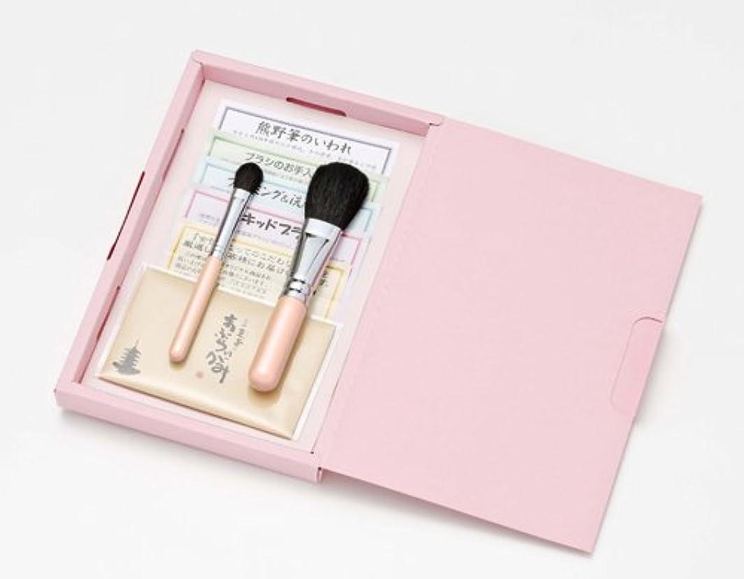 一般的にたまに開業医広島熊野筆 クリスタルピンク メイクブラシ ギフトセット №1
