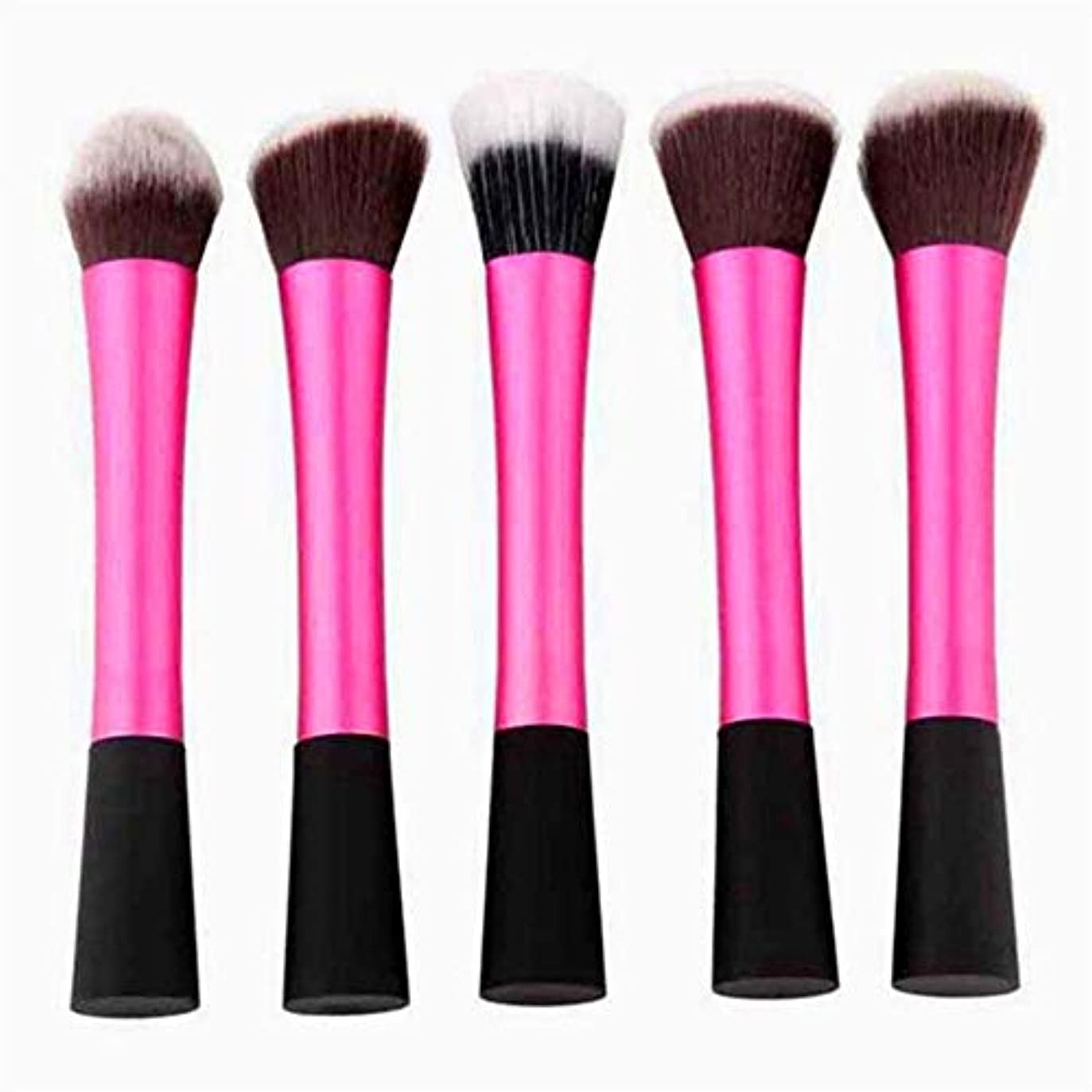 補償マニフェスト手を差し伸べるMakeup brushes 5ピースピンクメイクアップブラシセット熟したアイドルパウダーブラシアイシャドウブラシ輪郭ブラシ suits (Color : Pink)