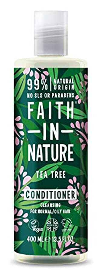 セットする傾斜盆Faith In Nature Tea Tree Deep Cleansing Conditioner Normal To Greasy Hair 400ml