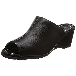 [ロメオ バレンチノ] オフィスサンダル ミュール オフィス ヒール6cm 室内履き ブラック 23.0~23.5 cm 3E