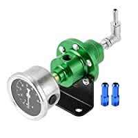 Gorgeri ゴルジェリ圧力調整器、ユニバーサルカー修正アルミニウム合金調整可能な燃料圧力調整器(緑)