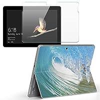 Surface go 専用スキンシール ガラスフィルム セット サーフェス go カバー ケース フィルム ステッカー アクセサリー 保護 写真・風景 波 サーフィン 001163