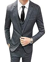 WE&energy 男性紳士コート英国スタイルブレザータックスベスト&ズボン Grey 3XL