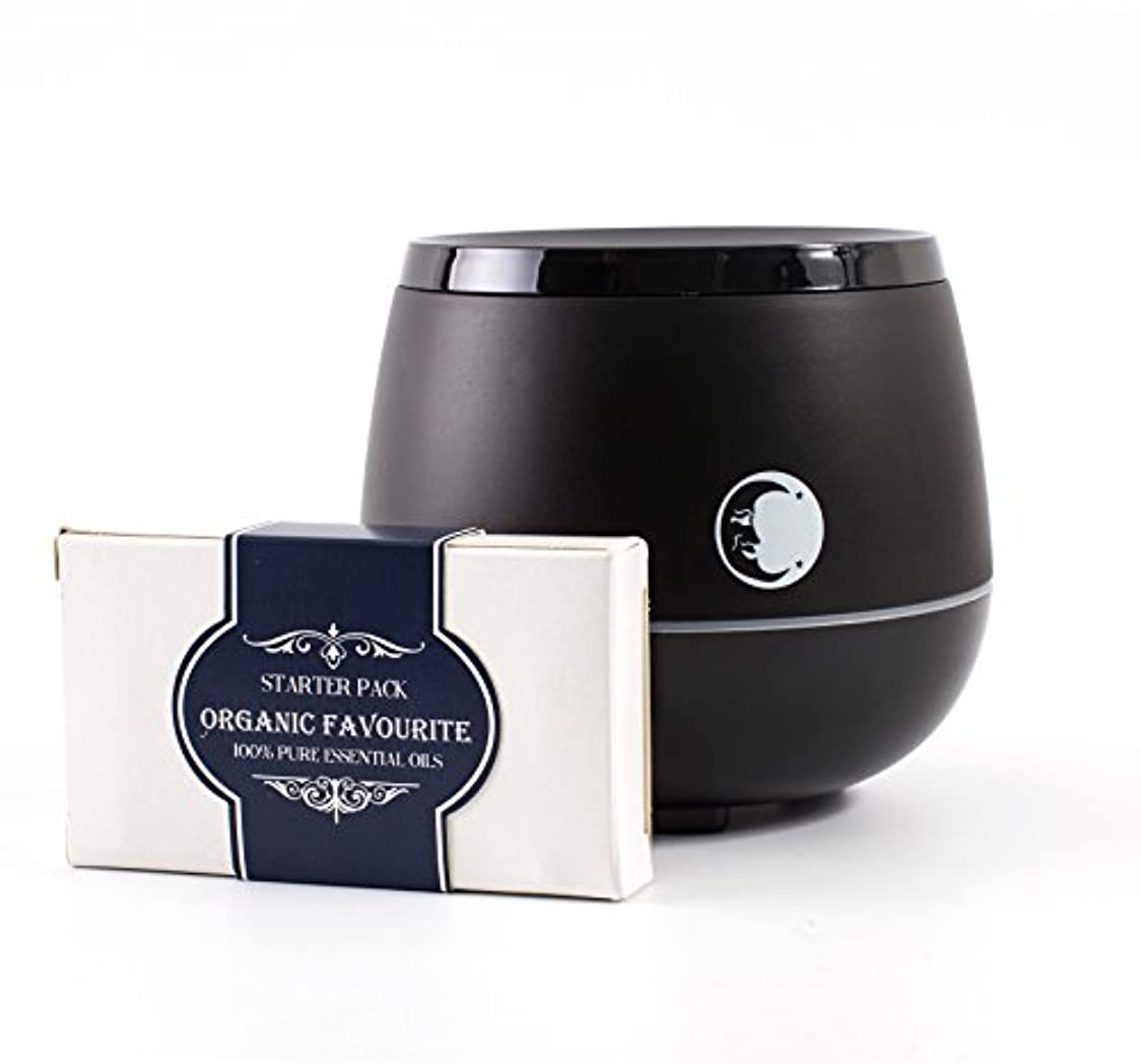 Mystic Moments | Black Aromatherapy Oil Ultrasonic Diffuser With Bluetooth Speaker & LED Lights + Organic Favourite...