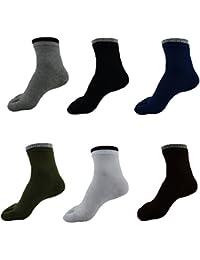UniMQ メンズ 綿製 ビジネスタイプ 靴下 軽量 通気性 5本指ソックス 6足組