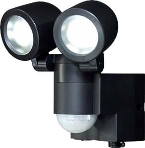 ELPA 屋外用LEDセンサーライト 乾電池式 1wLED 2灯 ESL-102BT(BK)