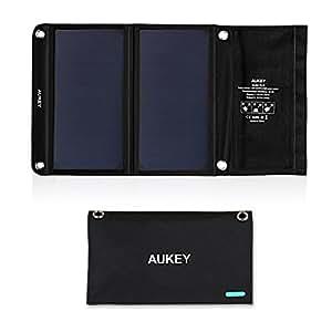 AUKEY ソーラーチャージャー 14W ソーラーパネル 2USBポート 折り畳み式 ソーラー充電器 防災 非常用 省エネ iPhone / Android各種他など スマホ スマートフォン タブレット モバイルバッテリー 対応 アウトドア USB充電器 PB-P3
