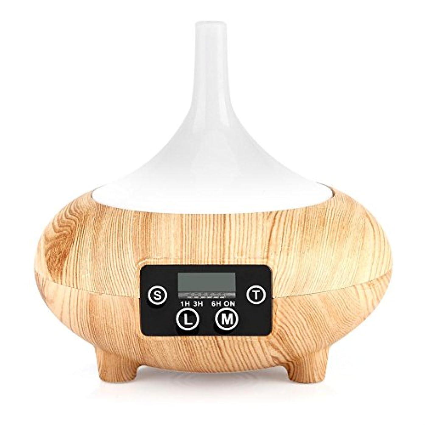 時間厳守フィドル団結加湿器 アロマディフューザー LED時計 卓上加湿器 空気清浄機 空焚き防止機能搭載 色変換LED搭載 ミストモード 時間設定 木目調 おしゃれ 乾燥対応 SPA美容など適用(浅木纹)