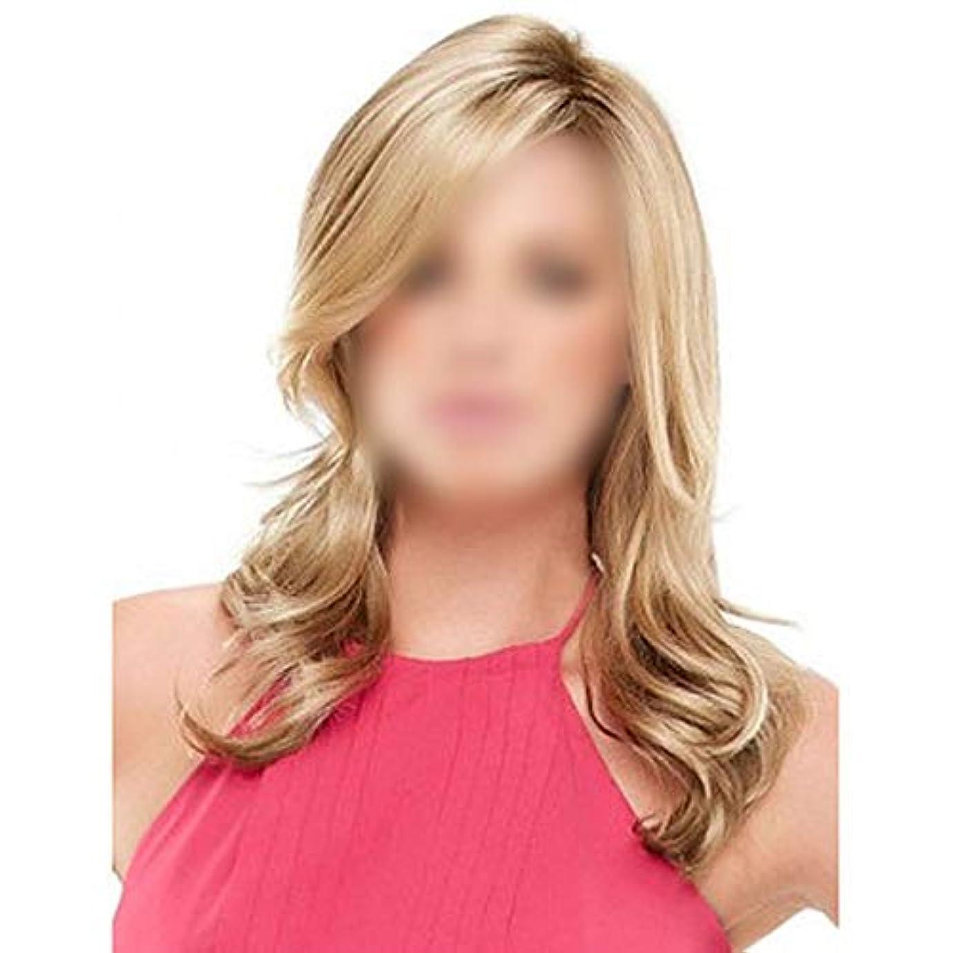意図するレシピ木材WASAIO 斜め前髪の長いウェーブのかかった巻き毛ウィッグ女性のスタイルの交換のためのアクセサリー毎日のドレス耐熱繊維 (色 : Blonde, サイズ : 70cm)