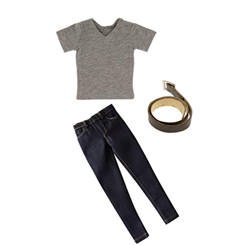 Fenteer 12インチフィギュアモデルに適用 男性 男 1/6  Tシャツ  ジーンズ  ウエストベルト セット 衣類 服装
