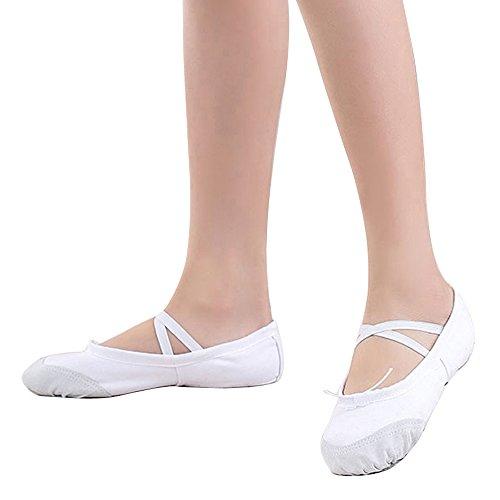 OCHENTA レディース 女の子 バレエ用品 布製スプリットバレエシューズ ホワイト 26