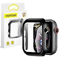 【2020改良モデル】YOFITAR Apple Watch 用 ケース series6/SE/5/4 44mm アップルウォッチ保護カバー ガラスフィルム 一体型 PC素材 全面保護 超薄型 装着簡単 耐衝撃 高透過率 指紋防止 傷防止 (series4/5/SE/6 44mm,ブラック2枚セット)
