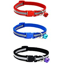 ROSENICE 3pcs Reflective Cat Collar with Bell Adjustable for Pets Kitty Puppy Small Dogs (Red + Blue + Black)