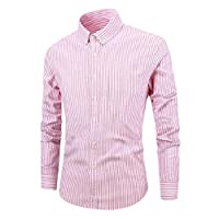 YAXINHE メンズボタン付きコットンスリムフィット長袖ビジネスストライプドレスシャツ Red L