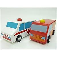 WOODEN DASH CARS◇木製プルバックミニカー2台組(消防車&救急車)