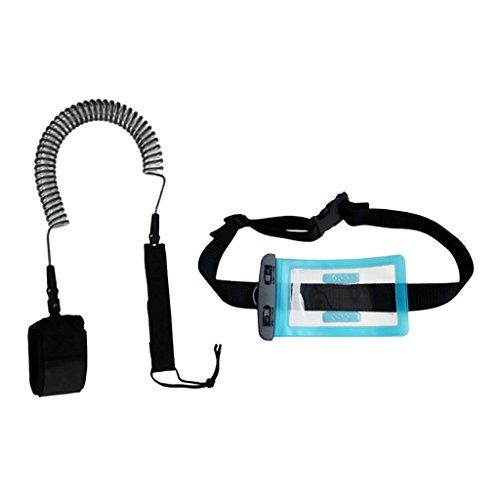 Perfeclan 調整可能 防水 財布 ドライバッグ付き 10フィート コイル付き 裾引きロープ ロープ  SUPリーシュ 防水財布バッグ 全11色 - クリアブラック, 説明したように