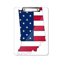 米国イリノイ州地図星とストライプの旗の形 フラットヘッドフォルダーライティングパッドテストA4