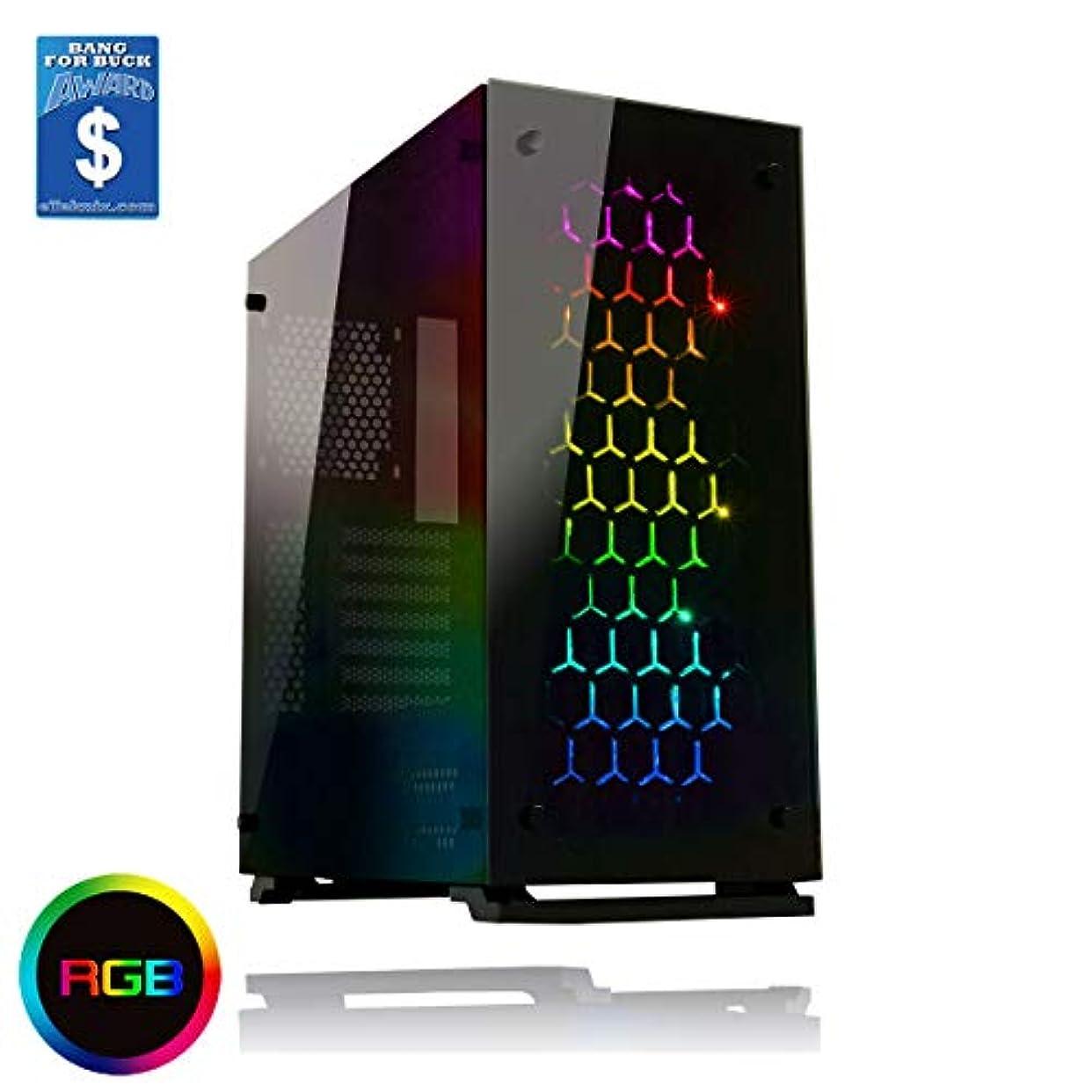 正気フォーマルおじいちゃんゲームMaxオニキスRGB MidタワーATX 3 x RGBファン強化ガラスSides &フロント