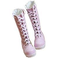 BJD人形 1/3 1/4 女 装飾 4色選ぶ グレースフル ボウタイ リボン 長いチューブ ブーツ 球体関節人形 靴 (ピンク, 1/3)