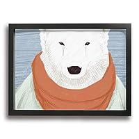 絵画家族 ホワイトクマ スカーフ 洋服 超薄型 絵画インテリアアート 額入り(30cm*40cm) アートフレーム インテリア アートポスター 油絵 水彩画 現代絵画 壁飾り 壁掛け 風景 自然 動植物 玄関 木製 贈り物