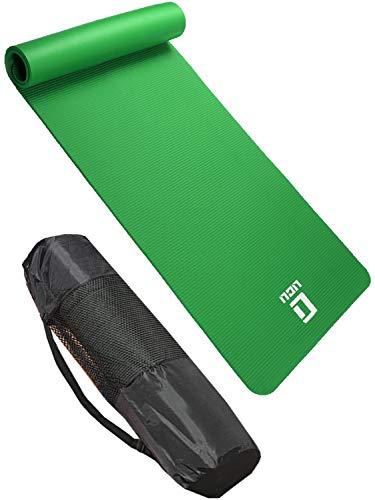 LICLI ヨガマット おりたたみ トレーニングマット エクササイズマット ヨガ ピラティス マット 厚さ 10mm 「 ストラップ 収納ケース付 」「 ニトリルゴム 滑り止め マットバッグ 」 7カラー (グリーン)